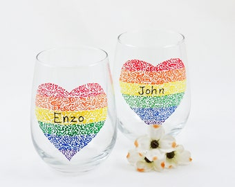 Personalized LGBT Pride hand painted wine glasses