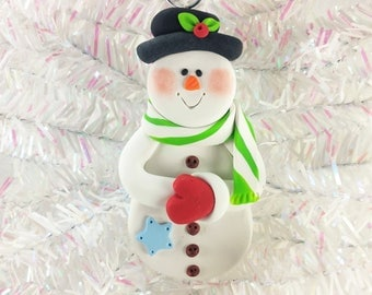 Handmade Polymer Clay Snowman Christmas Ornament - Gift for Snowman Collector - Christmas Decoration - Keepsake Gift - Gift for Child - 5297