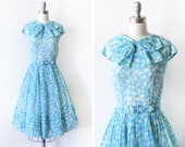 vintage 50s dress, 1950s blue + green dotted dress with bow, cotton voile rockabilly full skirt sundress dress, large l
