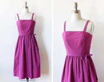 vintage 80s dress, 1980s dark magenta sundress, 80s does 50s day dress, xxs