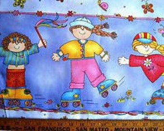 """Jelly Bean Junction Skaters ~ double border roller skates ONE YARD of fabric 100% cotton by the yard 44"""" - 45"""" wide"""