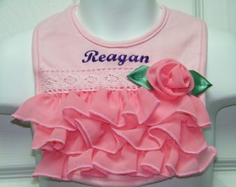 Personalized Embroidered Boutique Ruffles & Roses Bib for your Little Princess Baby Girl Bib