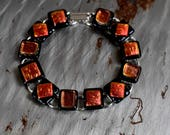 Cherry and Black Dichroic Glass Bracelet