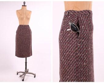 1950s tweed pencil skirt high waist purple + black boucle wool ladies vintage 1950s fitted midi small