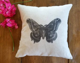 free shipping / butterfly pillow / spring pillows / moth/ cushion / garden / gray / shades of gray / jennifer helene home