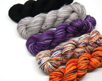"Halloween ""Neutrals"" Hardcore Sock Yarn Mini Skein Yarn Kit - 460 Yards - Superwash Merino Nylon"