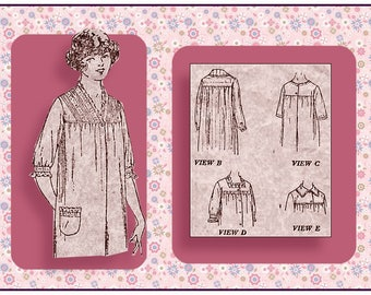 Vintage 1916-TITANIC ERA SLEEP Gown-Heirloom Sewing Pattern-Four Styles-Square Yoke-Pockets-Lace Inserts-Embroiderery-Size 44-Rare