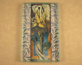 "Edward Burne-Jones ""Pelican"" Stained Glass Window Cartoon Rectangle Glass Tile Paperweight Home Decor"