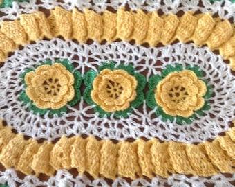 Vintage 3D Lacy Crochet Doily, Yellow Irish Roses, Oval Ruffled Doily, Fine Lace Crochet
