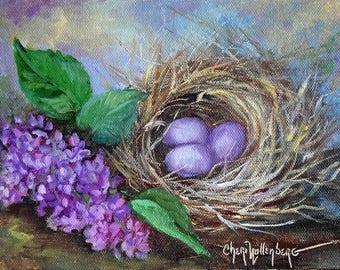 Bird Nest V Original Still Life Canvas Oil Painting, Purple Eggs,Childrens Wall Art, Paintings By Cheri Wollenberg