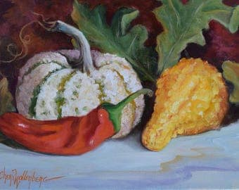 Still Life Art Autumn Yellow And Green Striped Gourds With Red Chili Pepper, Original Oil Painting On Canvas by Cheri Wollenberg