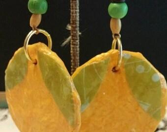 super sale handmade paper mache earrings