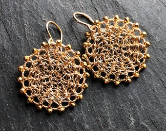 Crocheted Disk with Coated Pyrite