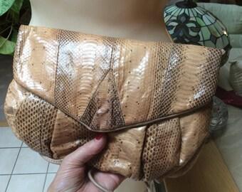 Vintage small Letizia small snake skin shoulder bag, tan tones genuine snake skin pouch purse, taupe grey brown snake skin shoulder handbag
