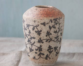 Rustic Speckled floral decorated  with blush Vase