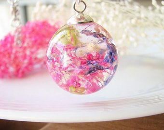 Resin Jewelry Real Flower Necklace Resin Necklace Botanical Jewelry Baby Breath Necklace Real Flower Jewelry