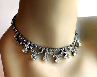 Vintage 1950s Clear Rhinestone Necklace - Prong-Set Round Rhinestone Dangles, Swags - Fancy Dress-Up Necklace - Mid-Century Silvertone - 15""