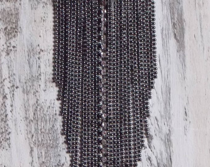 Long Chain Fringe Necklace Gunmetal Chain Long Tassel Goth Black Ball Chain Rhinestone Boho Layering Bohemian Necklace