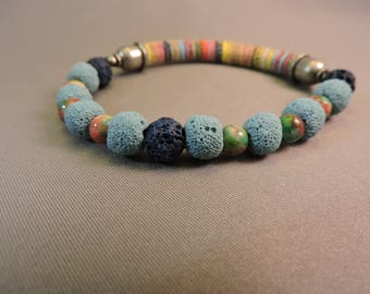 Turquoise and Navy Aromatherapy Bracelet