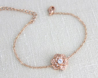 Rose gold bracelet, Bridesmaid bracelet, Bangle bracelet, Dainty Bridal bracelet, CZ bracelet, Charm bracelet, Wedding bracelet, BELLA