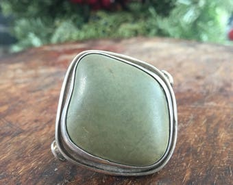 Beach stone ring   large stone ring   silver ring   green stone ring   sterling silver ring   statement ring