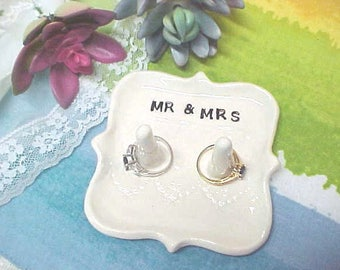 Mr & Mrs Wedding Dish, Double Post Ring Holder for His and Her Jewelry, White Lace Design, Ready to Ship, Great Gift for Bridal Couple
