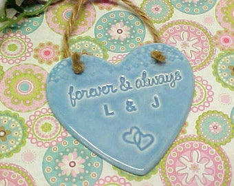 Pottery Wedding Gift   Personalized Initials Ornament   Choose Color   Baby Blue, Tea Rose Pink, Sage Green, Celadon Crackle   Made to Order