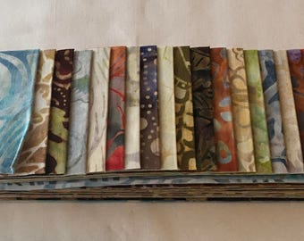 RARE Batik Anthology Story Strips Out of Print Fabric Strips Quilting Blue Brown Gold Rust Green Lights Autumn Fall piecesofpine