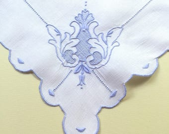 Vintage White Linen Doily with Blue Hand Embroidery