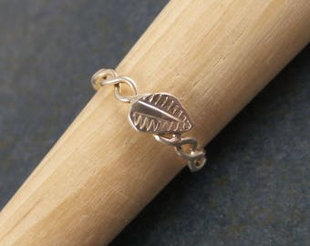 Leaf twist ring, stackable, sterling silver, band