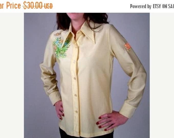 sale Yellow Shirt, Disco Shirt, 1970s Shirt, Button Down Shirt, Hand Painted, Disco Party Shirt, Disco Costume Shirt, Womens Vintage Clothin