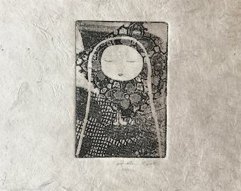 original etching - in meditation and prayer, special edition in black printed on gray handmade paper from Nepal