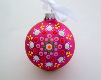 Hand painted red glass Christmas tree ornament mandala Holiday Decor personalize last minute gift host hostess coworker exchange gift ideas