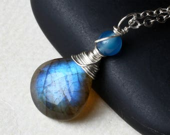 """Labradorite Necklace, Blue Agate, Sterling Silver - """"Oceanica"""" by CircesHouse on Etsy"""