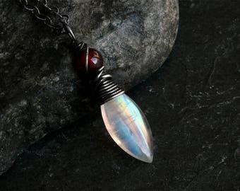 Moonstone Necklace - Garnet Necklace - Moonstone Jewelry - Garnet Jewelry - Rainbow Moonstone - Sterling Silver Necklace - CircesHouse