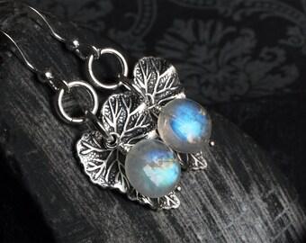 """Moonstone Earrings - Moonstone Jewelry - Rainbow Moonstone - Leaf Earrings - Sterling Silver - June Birthstone - CircesHouse - """"Moon Leaves"""""""