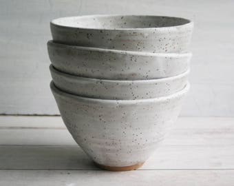 Set of Four Rustic Speckled Ceramic Serving Bowls in White Matte Glaze Stoneware Pottery Made in the USA Ready to Ship