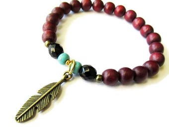 Burgundy Red Wood and Feather Charm Stretch Bracelet | Hippie Boho Style Jewellery for Women | Layering Stacking Bracelet | Everyday Wear
