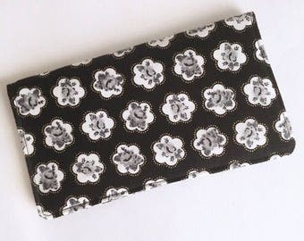 Black and White / Grey Gold Floral Checkbook Cover