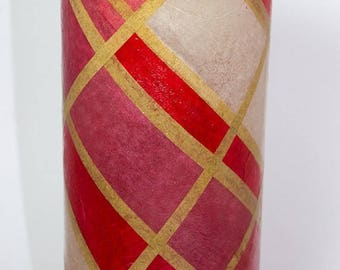Golden Stripes Decoupaged Glass Vase