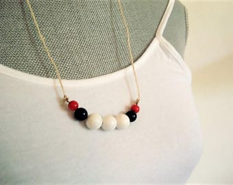 Red White Blue Necklace Fourth of July Necklace Patriotic Necklace Red White Beaded Necklace Summer Necklace Nautical Necklace