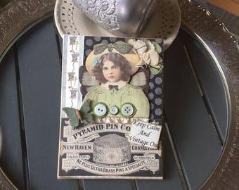 Keep Calm Card - Vintage Girl Card - Handmade Card