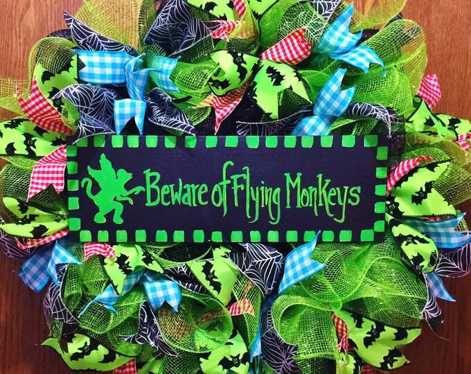 SALE- Beware of Flying Monkeys Wizard of Oz - Welcome Door Wreath