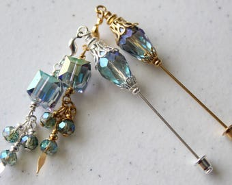 Two Glass Teardrop Hijab Pins/Stick Pins/Scarf Pin/Scrapbooking with Beaded Dangle