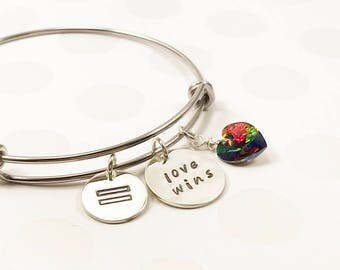 Marriage Equality Bracelet - Love Wins Jewelry - Love Wins Gift - LGBT Rainbow Heart Jewelry - Equal Marriage Bangle - Hand Stamped Bangle