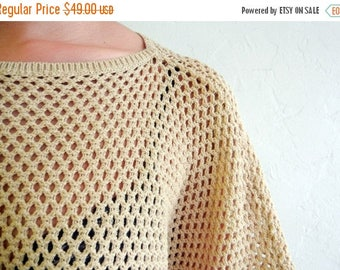 40% SUMMER SALE Taupe Crocheted Sweater