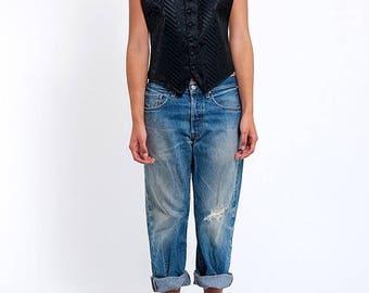 40% OFF CLEARANCE SALE The Vintage Black Tapestry Tuxedo Vest Halter Top