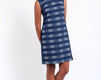 40% OFF The Vintage Retro Blue Blinds Sleeveless Shift Dress