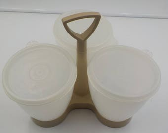Vintage Tupperware Condiment Set - Three Containers w/lids and carrying tray - 1970 Era