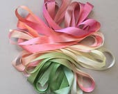 Peaches and Cream Mix - 6 metres of 13mm silk ribbon